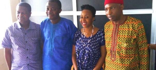 L-R, Wale Okediran, Kunle Ajibade, Obiageli Okigbo and Patrick Oguejiofor at the news briefing in Lagos on Monday