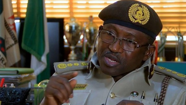 Comptroller General of the Nigerian Immigration, Muhammad Babandede. [Photo credit: Channels TV & YouTube.com]