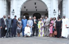 Secretary to the State Government, Lagos State, Mr. Tunji Bello (middle); Permanent Secretary, State House Abuja, Mr. Jalal Arabi (6th left); Commissioner for Special Duties & Inter-Governmental Relations, Mr. Oluseye Oladejo (5th left); his counterpart for Women Affairs & Poverty Alleviation (WAPA), Hon. Lola Akande (4th left); Director, Finance & Administration, State House Abuja, Mr. Bashri Alkah (3rd left); Acting Commissioner for Tourism, Arts & Culture, Mrs. Adebimpe Akinsola (6th right); Commissioner for Housing, Mr. Gbolahan Lawal (5th right); Special Adviser to the Governor on Urban Development, Mrs. Yetunde Onabule (4th right) and others during the official hand-over of the Presidential Lodge, Marina to the Lagos State Government, on Thursday, August 17, 2017.