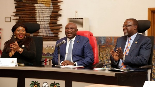 Lagos State Governor, Mr. Akinwunmi Ambode (middle); Immediate Past Vice President, International Affairs, Harvard Kennedy School, Toyosi Akerele-Ogunsiji (left) and Special Adviser, Office of Overseas Affairs & Investment (Lagos Global), Prof. Ademola Abass (right); during the courtesy visit to the Governor by the students of Harvard Kennedy School of Government at Lagos House, Ikeja, on Thursday, August 10, 2017.