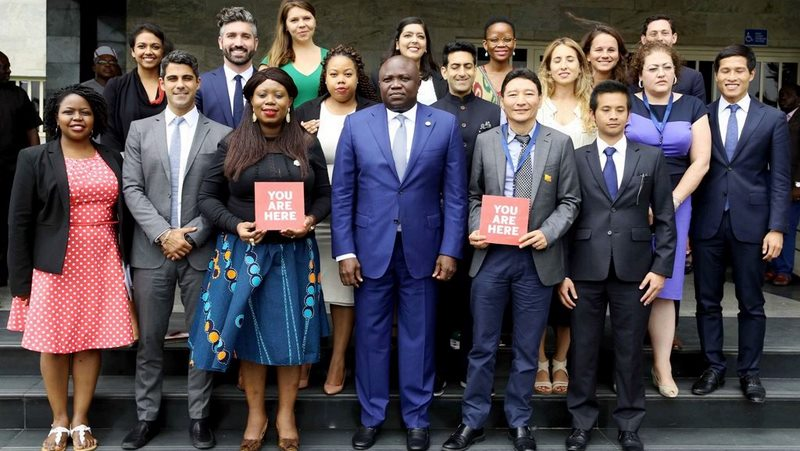 Lagos State Governor, Mr. Akinwunmi Ambode (3rd right), with Immediate Past Vice President, International Affairs, Harvard Kennedy School, Toyosi Akerele-Ogunsiji (3rd left); Allen Asiimire (left);  King Tshering (2nd right) and others students of Harvard Kennedy School of Government during their courtesy visit to the Governor at Lagos House, Ikeja, on Thursday, August 10, 2017.