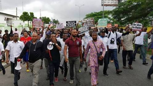Peaceful protest led by Lagos-based right activit, Inibehe Effiong, in Uyo against Gov Emmanuel's plan to build new Governor's Lodge in Lagos