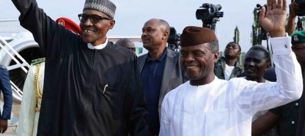 Vice President Yemi Osinbajo welcomes President Buhari back to Nigeria