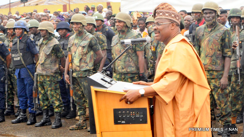 "Gov. Abiola Ajimobi of Oyo State delivering speaking at the commissioning of patrol vehicles for Re-branded Oyo State Joint Security Task Force named: ""Operation Burst"", in Ibadan on Friday (4/8/17). 04039/4/8/17/Adeogodiran Timothy/OTU/BJO/NAN"