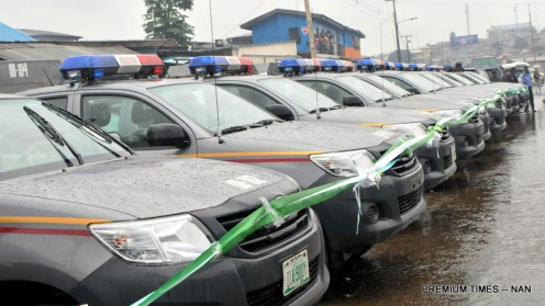 "Security patrol vehicles purchased by Oyo State Government for Re-branded Oyo State Joint Security Task Force named: ""Operation Burst"", in Ibadan on Friday (4/8/17). 04040/4/8/17/Adeogodiran Timothy/OTU/BJO/NAN"
