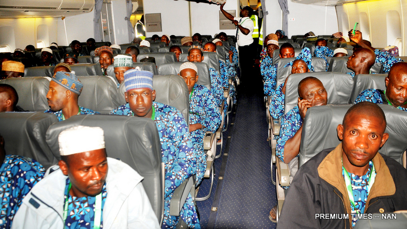 Pic.23. Some of the 460 Muslim pilgrims from Kwara before the take-off of their flight during the inaugural air-lift of 2017 pilgrims at the International Airport in Ilorin on Thursday (3/8/17). 04012/3/8/2017/Anthony Alabi/BJO/NAN