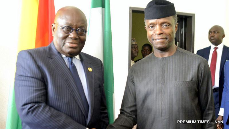 Acting President Yemi Osinbajo (R) receiving Ghanaian President Nana Kuffor Addo at the Presidential Villa in Abuja on Tuesday (1/8/17). 03938/1/8/2017/Sumaila Ejiga/BJO/NAN