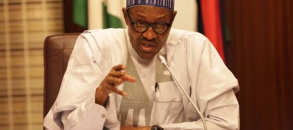 President Muhammadu Buhari talking