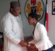 Enugu WAEC  StudentGovernor Ifeanyi Ugwuanyi of Enugu State congratulating Miss Cynthia Ali, a student who had A1 in all her nine WAEC subjects, after the governor awarded her a first degree scholarship to any Nigerian university of her choice in Government House, Enugu, yesterday.