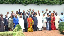 Acting President Yemi Osibanjo (7th r); Head of Civil Service of the Federation, Mrs Winifred Oyo-Ita (7th l) Chief of Staff. Alahji Abba Kyari (6th r) NationalSecurity Adviser, retired Brig.-Gen Babagana Mongulu (5th l) and the new Federal Permanent Secretaries after their inauguration by the Acting President at the Presidential Villa in Abuja on Wednesday (16/8/17). O4308/16/8/2017/Callistus Ewelike/NAN