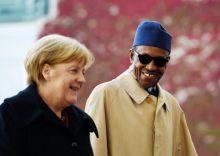 German Chancellor Angela Merkel and President Muhammadu Buhari. [Photo credit: NAN]
