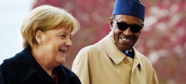 German Chancellor Angela Merkel and President Muhammadu Buhari. [Photo credit: NAN]