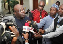 Gov. Ikpeazu addressing journalists