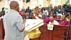 Rivers State Governor, Nyesom Ezenwo Wike addressing the 12th General Synod of the Church of Nigeria, Anglican Communion at Saint Paul's Cathedral in Port Harcourt on Wednesday.