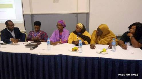 Left to right Modupe Adefeso - Olateju, TEP Centre, Amina Hanga executive secretary empowerment initiative kano, Usman Mohammed Girl children concerns kaduna, Habiba Mohammed Centre for Girls' Education Zaria, chioma Osuji policy advisor civil society Action coalition on education for all