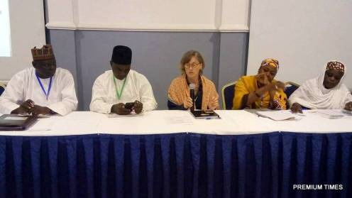 NGOs - Government engagement for Girls education and protection in the North-East. From left to right Bulama Abiso, CHiarman NUT; Yusuf Ibn Tomm, Director of Admin; Annie Bunting from Conjugal Slavery in war; Ya Bawa Kolo, Director Women Affairs and Hauwa Biu, WRAPA.