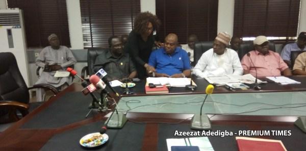 Executives of SSANU, NASU and NAAT during the meeting [Photo: Azeezat Adedigba - PREMIUM TIMES]