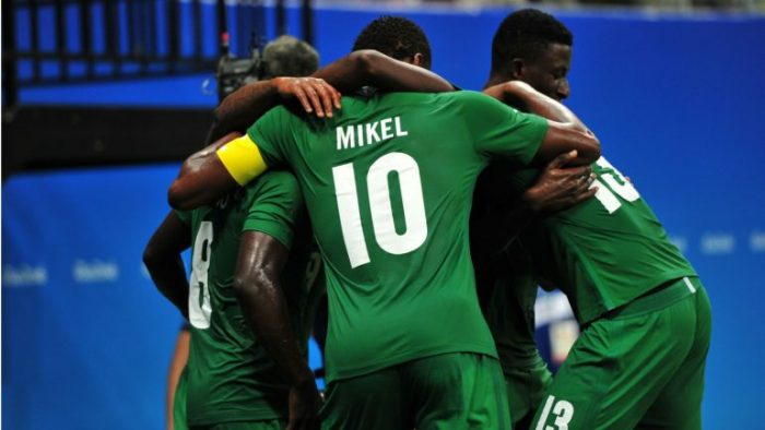 Super eagles celebrating goal