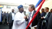 Lagos State Governor, Mr. Akinwunmi Ambode, with U.S Consul General, Lagos, Mr. John Bray (2nd right), Commercial Counselor, U.S Mission to Nigeria, Mr. Brent Omdahl and Criminal Justice Advisor, British Deputy High Commission, Lagos, Mr. Michael Omo during the commissioning of the Lagos State DNA and Forensic Centre, Lagos Island, on Wednesday, September 27, 2017.