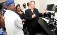 Lagos State Governor, Mr. Akinwunmi Ambode (2nd left); State Commissioner of Police, Mr. Imohimi Edgal (left); Acting Chief Judge of Lagos State, Justice Opeyemi Oke (2nd right), being conducted round the newly commissioned Lagos State DNA and Forensic Centre, Lagos Island, by the Director, Technical Leader, DNA/Biology Forensics, Lagos State DNA and Forensic Centre, Shelley Johnson (right) during the commissioning on Wednesday, September 27, 2017.