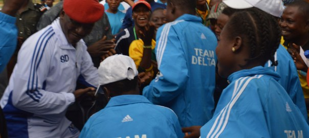 Minister of Youth and Sports Development, Solomon Dalung celebrating with Delta contingent, which emerged as overall winners of the Third National Youth Games in Ilorin on Saturday (16/9/17). 04980/16/9/2017/AnthonyAlabi/BJO/NAN