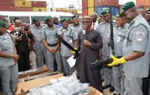 Comptroller-General of Nigerian Customs Service retired Col. Hameed Ali  (3rd R) and his men display some of the 470 pump action rifles smuggled into the country, which were seized 10 days after a similar seizure from Turkey, in Lagos on Thursday (21/9/17). 05077/21/9/2017/Wasiu Zubair/TA/BJO/NAN