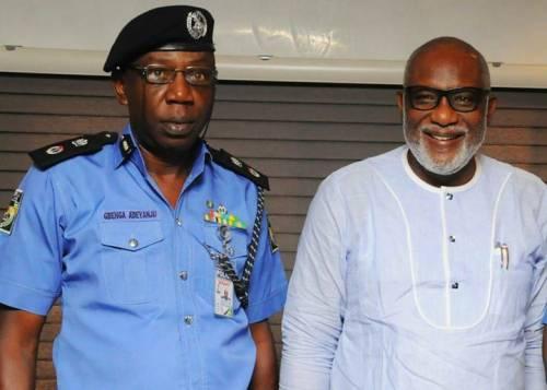new Commissioner of Police, Gbenga Adeyanju with Ondo state Governor. [Photo credit: Saharareporters.com]
