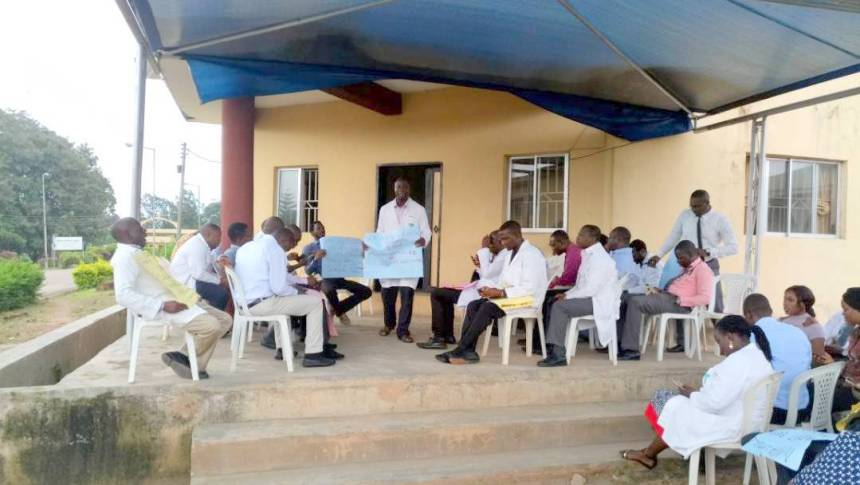Image result for FMC Owo doctors demand payment of salaries shortfall