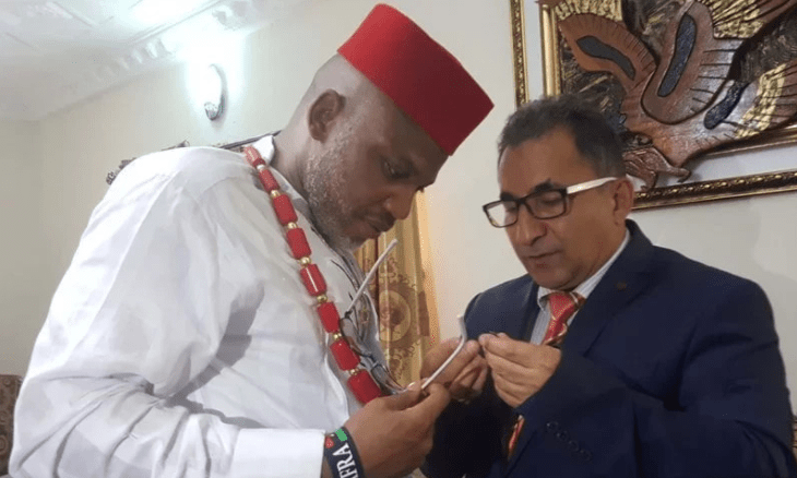 Turkish citizen, Abdülkadir Erkahraman with IPOB leader, Nnamdi Kanu. [Photgo credit: Daily Post Nigeria]