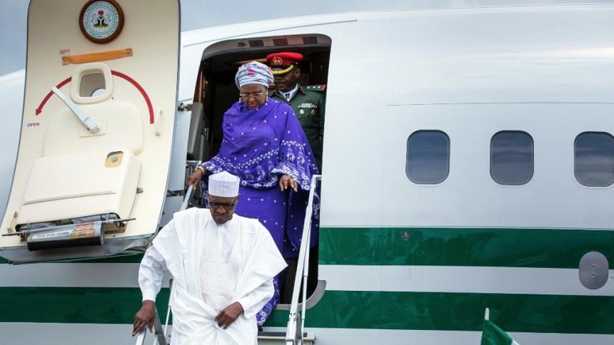 Umrah Banner: Buhari Returns To Abuja After Sallah Holiday In Home Town
