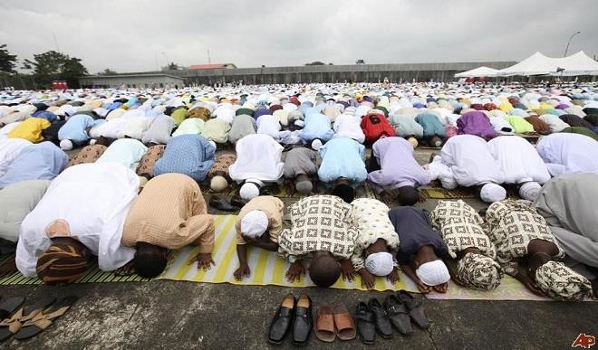 Muslims praying. [Photo credit: Daily Trust]