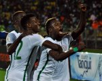 Super eagles celebrating a goal against the Indomitable Lions of Cameroon in Yaounde