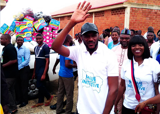 Popular musician, Innocent Idibia, popularly known as TuFace, has arrived at the camp for internally displaced persons in Makurdi, the Benue State capital.