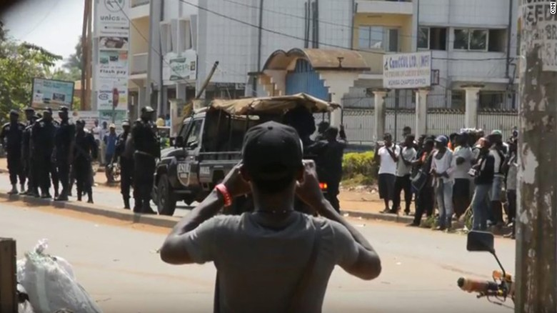 Cameroon protesters used to illustrate the story.