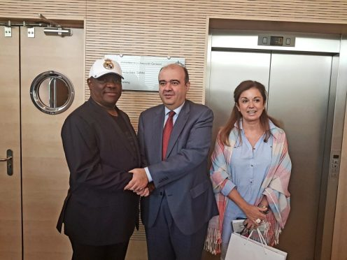 L-R: Rivers State Governor, Nyesom Ezenwo Wike, Managing Director of Real Madrid Foundation , Julio Gonzalez and International Area Manager of Real Madrid Foundation , Rosa Roncal Gimenez after a meeting between Real Madrid Foundation and Rivers State Government on the setting up of a Real Madrid Academy in Rivers State on Tuesday.