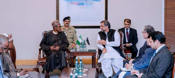 President Buhari with Pakistani PM Shahid Khakan Abbasi {Photo Credit: The Nation]