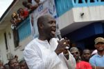Liberian politician and ex-footballer George Weah speaks during a campaign [Photo credit: Yahoo News]