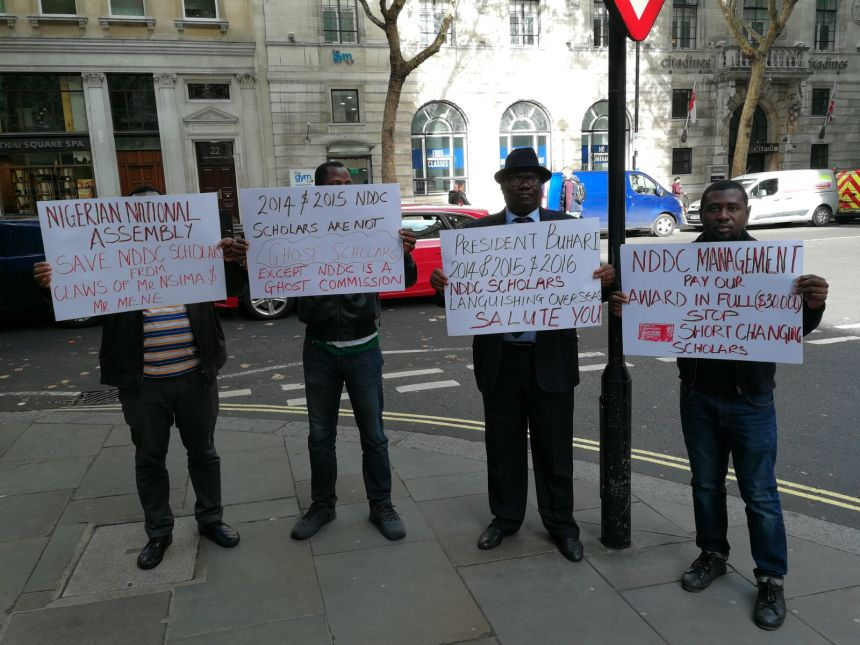NDDC students protesting in front of the British High Commission to Nigeria