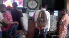 Bettors inside a betnaija shop in Lagos Island