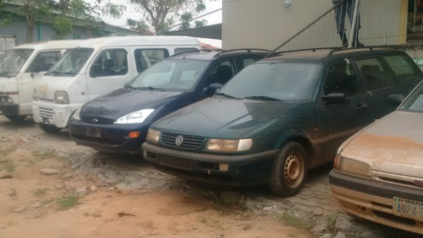A cross section of cars impounded by Nigerian customs