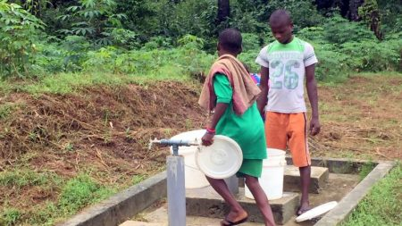 File photo of children fetching water from the borehole constructed by UNICEF and EU in Ikot Nkpenne community, Nsit Atai Local Government Area of Akwa Ibom State, [Photo Credit: Nike Adebowale]