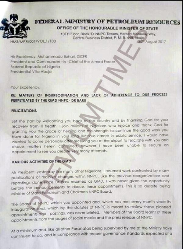 Kachikwu's Letter to PMB-1
