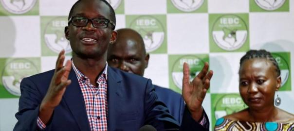 CEO of Kenya's IEBC Ezra Chiloba addresses a news conference at their offices in Nairobi