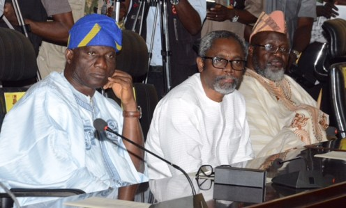 L-R: Deputy Speaker, House of Representatives, Hon. Lasun Yusuf; Leader, House of Representatives, Hon. Femi Gbajabiamila; and Minister of Communications, Mr. Adebayo Shittu, during the All Progressives Congress Southwest stakeholders' meeting, held at the Governor's Office, Ibadan... on Thursday. Photo: Oyo State Governor's Office