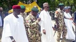 President, Muhammadu Buhari (M), Chief of Army Staff Lt. – Gen.Tukur Buratai (2nd R); Gov, Kashim Shettema of Borno(Ist L) during President, Muhammadu Buhari interacting with wounded soldiers at the 57th Independence Day celebrations in Maiduguri on Sunday (1/10/17)05298/1/10/2017/ Hamza Suleiman/OTU/NAN