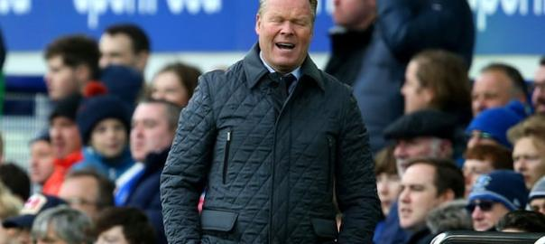 Ronald Koeman shows his displeasure during Everton's defeat by Arsenal, a result which led to the Dutchman's sacking as manager at Goodison Park. Photograph: BPI/Rex/Shutterstock (Photo Source: Guardian UK)