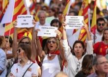 Protesters in Catalonia