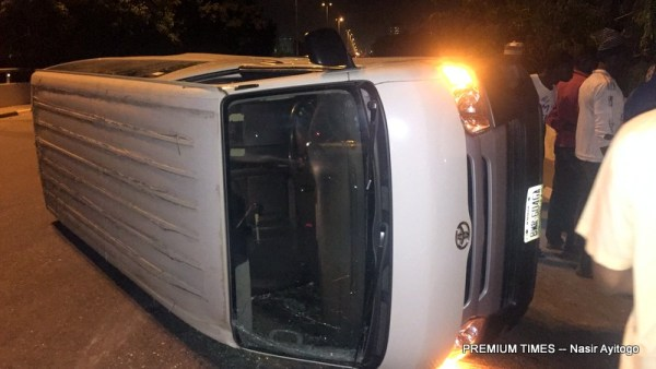 The Channels TV bus involved in the accident [Photo by Nasir Ayitogo, 10/27/2017]
