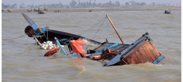 Capsized boat used to illustrate the story.