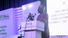 "Prof. Abba Gambo delivering a paper on ""Untangling the bottlenecks towards Nigeria's Agriculture transformation."""